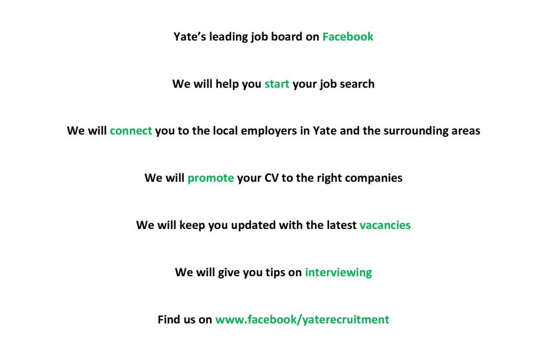 The Yate Jobs Facebook Page, that is there to help you progress your career in the local area……